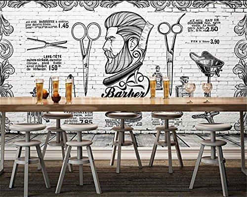 Mbwlkj Papel Pintado Fondo De Pantalla 3D Personalizado Vintage Retro Peluquería Europea Y Británica Peluquería Peluquería Pared De Papel Tapiz Para Paredes 3D Behang-400Cmx280Cm