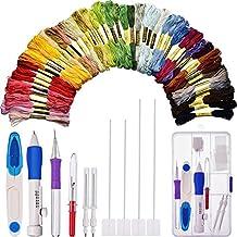 Kit de Agujas de Bordado Coser Perforación con Caja de Almacenaje y 50 Colores de Hilos de Punto de Cruz con Abridor de Costura y Tijeras de Hilo