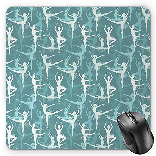 BGLKCS Classic Mauspads Mouse Pad, Dancing Silhouette of Ballerinas Woman Body Performing Dancers Modern Art Deco, Standard Size Rectangle Non-Slip Rubber Mousepad, Teal Seafoam