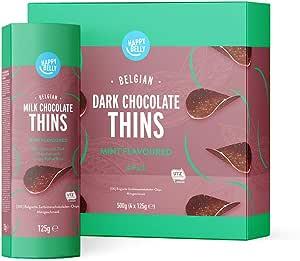 Marchio Amazon - Happy Belly Chips di cioccolato fondente belga - All'aroma di menta,4x125g