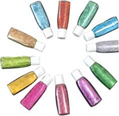 Midas Beautiful & Assorted Colors Sparkle Glitter Powder Bottle for Creative DIY Arts & Crafts, Party Decorations, Scrapbooking, School Crafts - Combo of 12 - 15ml