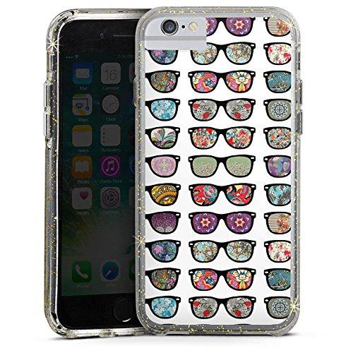 Apple iPhone 6 Bumper Hülle Bumper Case Glitzer Hülle Brille Glasses Hipster Bumper Case Glitzer gold