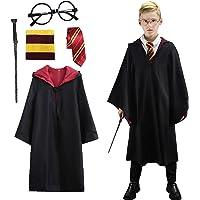 Amycute Costume de Magicien, Robe de Sorcier avec Cravate, Lunettes Noires Rondes, Écharpe et Baguette, Kit d…