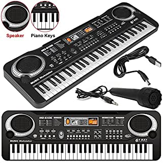 Safekom 61 Keys Digital Electronic Electric Talent Organ Piano Music Keyboard Record and Program Teach Play Together Sound effect Control Musical Microphone Multifunction Portable Key Board