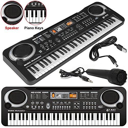 Elektronische Orgel/Keyboard mit 61Tasten, E-Piano, digitale Musik, elektronische Musik, Mikrofon, Keyboard mit vielen Funktionen, tragbar, LED-Display