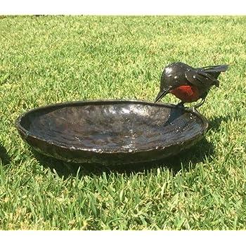 delightful rspb metal red robin bird bath 20cm dia part of the