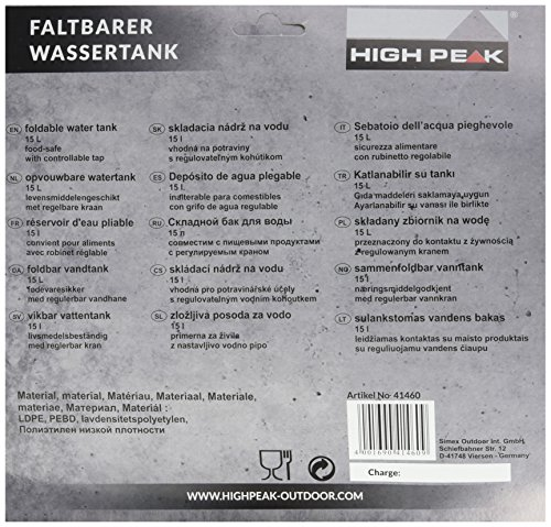 High Peak Wassertank faltbar 15L, transparent, 25 x 25 x 12 cm, 41460