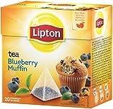 Lipton Schwarztee mit Blaubeer Muffin Geschmack / 20 Beutel, 4er-Pack (4 x 20 Beutel)