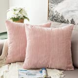 MIULEE Corduroy Soft Solid Decorative Square Throw Pillow Case Striped Cushion Cover for Home Sofa Bedroom Car 18 x 18 Inch 45 x 45Cm Pink Set of 2 Lined