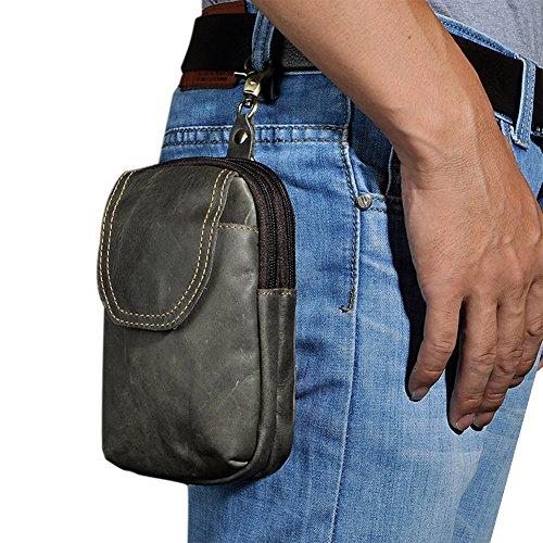 Genda 2Archer Los Hombres de la Correa de Cuero de Mini Cintura, Bolsa de Gancho (Gris Oscuro)