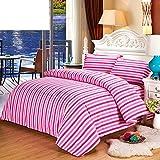 Unbekannt WLL Pastoralen Stil Gestreifte Farbe 100% Baumwolle Bettbezug-H220*240 cm (87 x 94 Zoll)