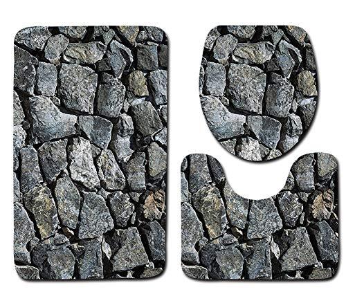 Tayohye Polyester 3D Stranddruck 3-teilige Badematte, Badezimmer Badezimmer rutschfest Wasseraufnahme Teppich gesetzt, 008, 75 * 45cm