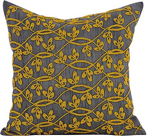 décoratifs Housses de coussin 66 x 66 cm Gris, soie Couvre-lit Housses de coussin, faite à la main Housses de coussin – Jaune Fleur