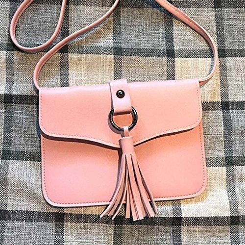 BZLine® Frauen Leder Handtasche Quaste Umhängetasche Tasche Tote, 19cm*1cm*14cm Pink