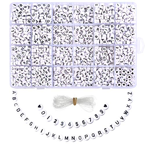 k Buchstabenperlen Perlen Buchstaben zum Auffädeln Rund Weiss Acryl Alphabet Zahlen Herz DIY Zubehör Schmuck Basteln mit Schnur ()