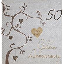 """White Cotton Biglietto di auguri realizzato a mano per 50° anniversario di matrimonio (nozze d'oro), bianco, con scritta """"Golden Wedding Anniversary, Handmade 50th Anniversary"""""""