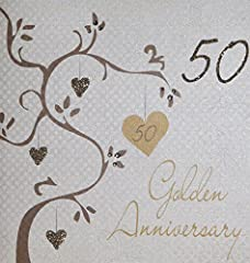 """Idea Regalo - White Cotton Biglietto di auguri realizzato a mano per 50° anniversario di matrimonio (nozze d'oro), bianco, con scritta """"Golden Wedding Anniversary, Handmade 50th Anniversary"""""""
