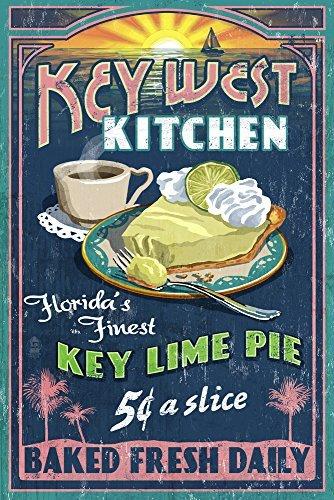 Key West, Florida-Key Lime Pie Vintage Schild, Papier, multi, 9 x 12 Art Print (Key West Tauchen)