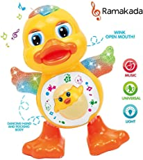 Ramakada Dancing Duck Toy with Real Dance Action and Music Flashing Lights, Multi Color