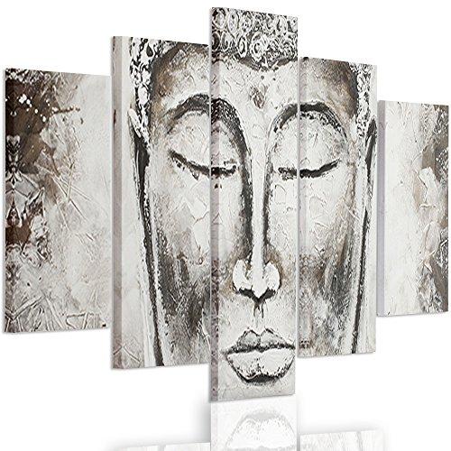 Feeby frames, grande formato quadro multipannello di 5 pannelli, quadro su tela, stampa artistica, canvas xxl, tipo a, 120x250 cm, zen, viso, buddha, statua, grigio, marrone
