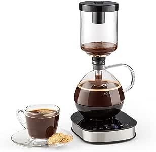 Klarstein Drop Siphon-Kaffeemaschine Kaffeezubereiter (500 Watt, 360° Basis, LCD-Display, Touchbedienung, automatischer und manueller Zubereitungsmodus) schwarz