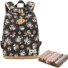 Flora mochila para niñas, escuela de lona Bookbag College portátil bolsa mujeres mochila