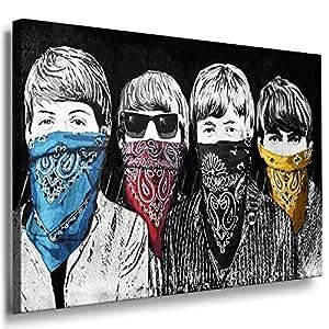 "'Foto leinwand24–Banksy Graffiti Art ""Beatles/aa0091/quadro su telaio, Legno, multicolore, 70 x 50 cm"