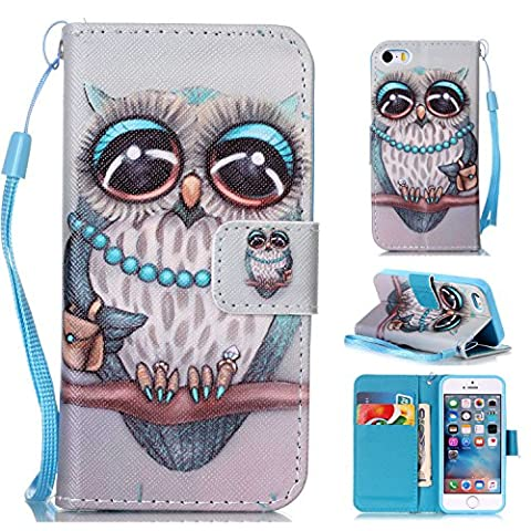 iPhone SE Hülle,iPhone 5 Tasche,iPhone 5s Hülle,iPhone SE iPhone 5 iPhone 5S Leder Cover,Cozy Hut PU Leder Hülle für iPhone SE 5 5S Ledertasche Schutzhülle Case[Stand Feature] Flip Case Cover Etui mit Karte Slots Hülle für iPhone SE / 5 / 5S Tasche Schale,grau Muster Design - Grey Owl