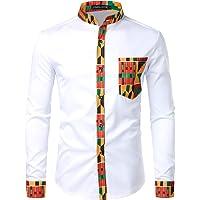 Parklees Chemise à manches longues pour homme Style hipster africain Motif patchwork