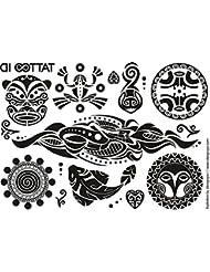 TATTOO ID MAORI TRIBAL tatouage ephemere temporaire hypoallergénique Fabriqué en FRANCE 2 planches tattoos Homme Femme