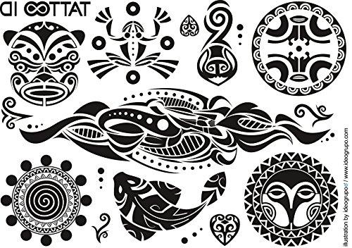 Tattoo id maori tribale tatuaggio ephemere temporanea ipoallergenico made in francia. 2fogli wak-026uomo donna
