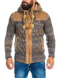 Carisma Warme Herren Strickjacke Norweger Wolle Lederapplikationen 7342 Grobstrick Camel Schwarz