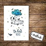 ilka parey wandtattoo-welt® A6 Postkarte Karte Print Nilpferd mit Wolke Vögel und Spruch Du bist woau pk15