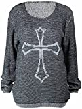Ladies New Long Sleeve Gothic Celtic Cross Knit Tops Womens Knitted Round Neck Boyfriend Jumper Top