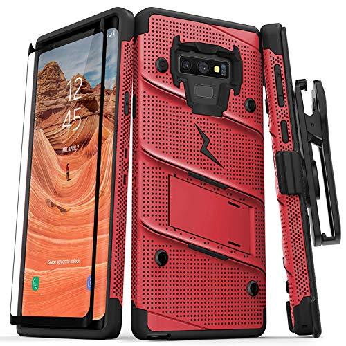 Zizo kompatibel Bolt Series Military Grade Drop getestet gehärtetem Glas Displayschutzfolie Samsung Galaxy Note 9Schutzhülle, rot/schwarz