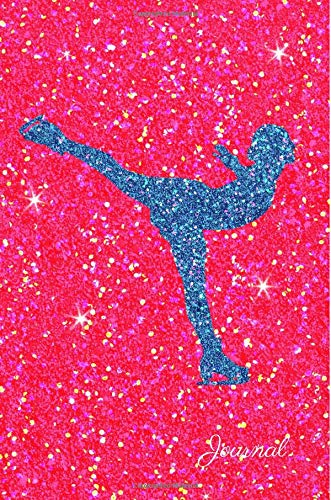 Journal: Blue Purple Figure Skater Dark Pink Faux Glitter Lined Paper Dairy Notebook | Gift for Adults and Kids por MSquared Glitter Designs