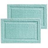 mDesign 2er-Set Badematte rutschfest - großer Mikrofaser Badvorleger für Bad oder Küche - besonders pflegeleichter Duschvorleger - mint