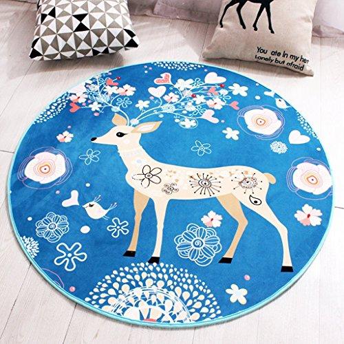Große blaue Runde Baumwolle getuftet Teppich Rund Kinderzimmer Kinderzimmer oder Interior Rugs (Size : A 80*80cm)