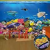 Fototapete Aquarium Wandbild Dekoration farbenfrohe Unterwasserwelt Meeresbewohner Ozean Fische Delphin Korallen-Riff Clownfisch | Foto-Tapete Wandtapete Fotoposter Wanddeko by GREAT ART (336 x 238cm)