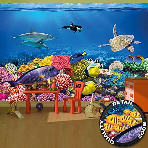 Fotomurales acquario murales decorazione variopinta mondo subacqueo abitanti del mare oceano pesci delfini barriera corallina pesce pagliaccio i fotomurales by great art (336 x 238 cm)