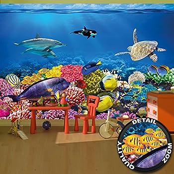 Rainbow Tropical Underwater Ocean Sea Life Wallpaper Mural Giant Wall Decor Amazon Co Uk Diy