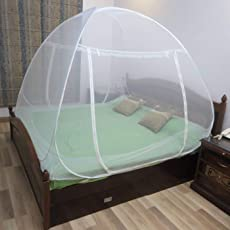 BACKBONE Foldable Mosquito Net Flexible for Double Bed,King Size Bed, Queen Size Bed with 2 Window Zip Door (Size : Double Bed)