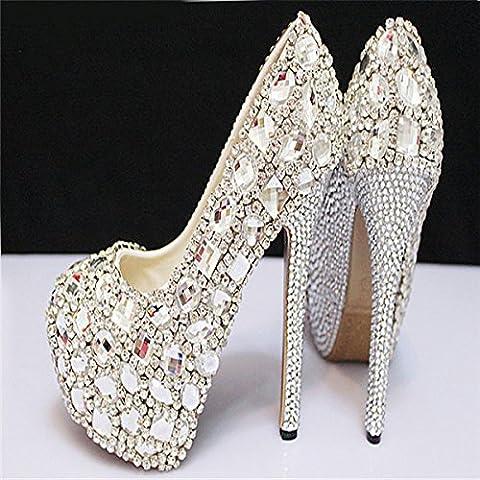 xieshijie-hlx sposa/Diamante impregnato hand-women/impermeabile/cristallo/argento tacchi alti/scarpe/scarpe, donna, bianco