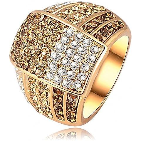 AnaZoz Joyería de Moda 18K Chapado en Oro Anillos de Mujer SWA Element Cristal Austria 22*18mm
