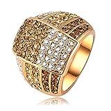 AnazoZ Schmuck 18K Vergoldet Frauen Ringe Österreichischen Kristall Ehering 22 * 18mm