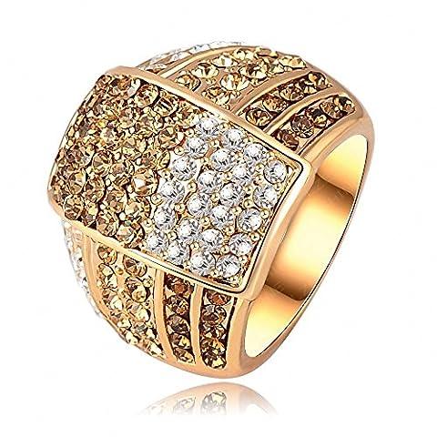AnaZoz Schmuck 18K Überzogen Frauen Ringe Des Österreichischen Kristall 22 * 18Mm (Frauen Österreichischen Kristall-ring)