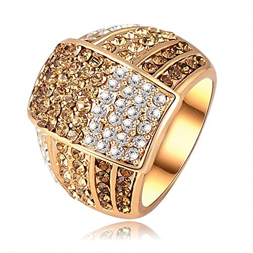 AnaZoz Joyería de Moda 18K Chapado en Oro Anillos de Mujer SWA Element Cristal Austria 22*18mm Tamaño 17