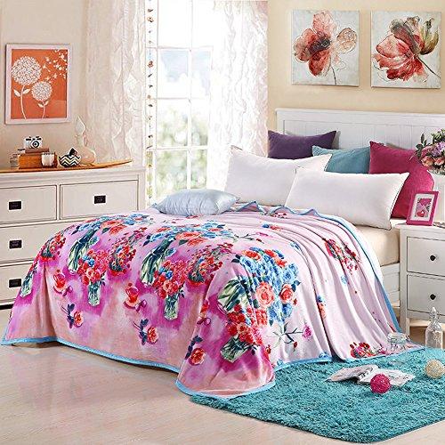 shinemoon Super Soft Flowers Muster Erwachsene Kinder Plüsch Fleece Bett Sofa Couch Decke/Überwurf Outdoor-Reise Picknick Camping Decken für die kalte, 100 % Polyester, Rosen, 200x230cm