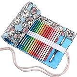 Amoyie - Sacchetto della matita portamatite arrorolabile per 48 matite colorate porta penne tela wrap borse organizer astuccio portapenne scuola cassa del supporto di matita viaggio le orologio blu 48