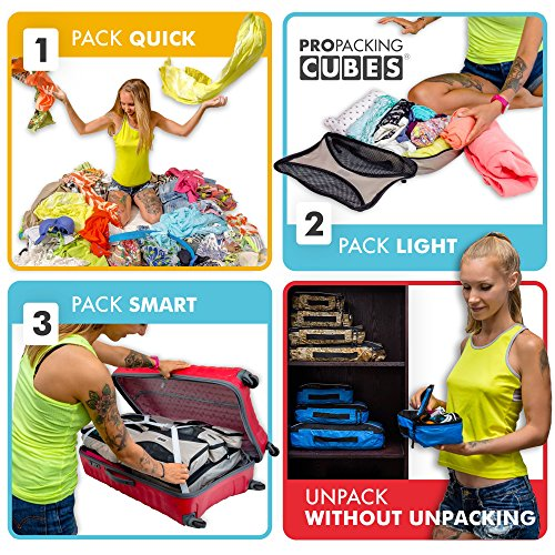 PRO Packing Cubes | 6 Piece Travel Packing Cube Value Set | 30% Space Saver Bags & Luggage Oranisers | Ultra Lightweight | Great for Duffel Bags, Carry on Luggage, and Backpacks (Multicolour)